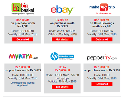 Ebay free coupons for hdfc credit card