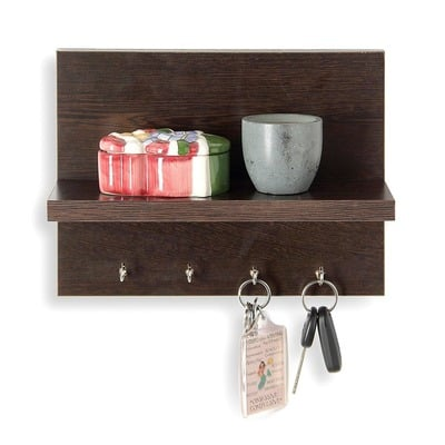 forzza mia wall shelf with key holder matte finish wenge. Black Bedroom Furniture Sets. Home Design Ideas