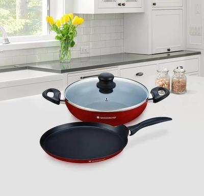 Wonderchef ruby series cookware set aluminium 3 piece for Kitchen set bartan