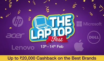 paytm || laptop fest || 13feb -14feb || upto 20000 cb on top