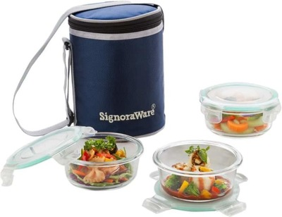 signoraware best glass lunch box set with bag 22cm 4