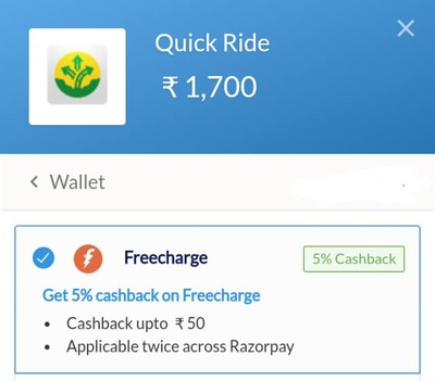 Add money to Quick Ride wallet using FreeCharge and Get 5