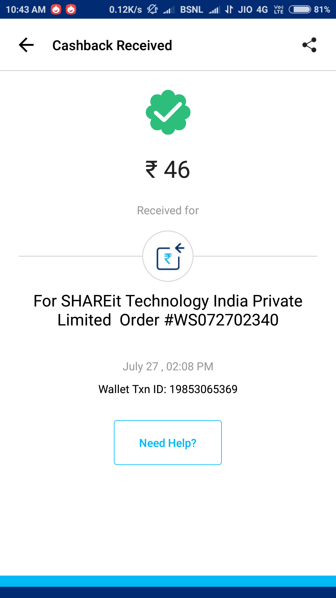 Shareit apk contest-Get Free Paytm Cash From (Daily Lakhpot