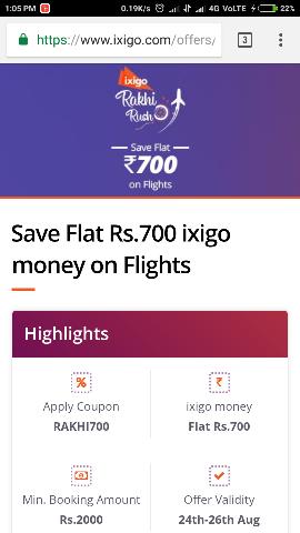ixigo Rakhi Sale : Save Flat Rs 700 Cashback on Flights on 2000 & Above