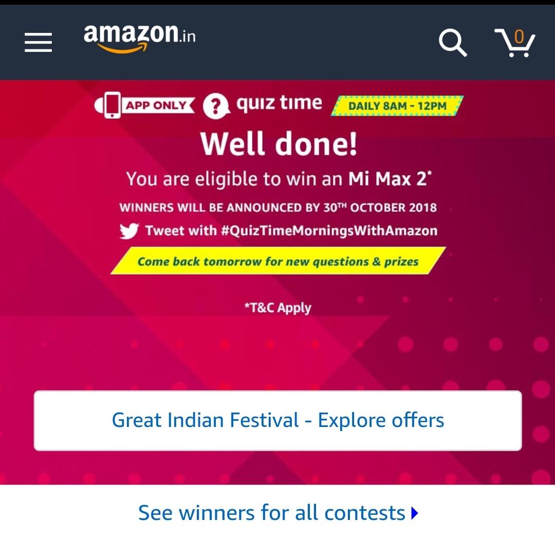 Amazon Mi Max 2 Quiz Answers – Answer And Win Mi Max 2 - 30