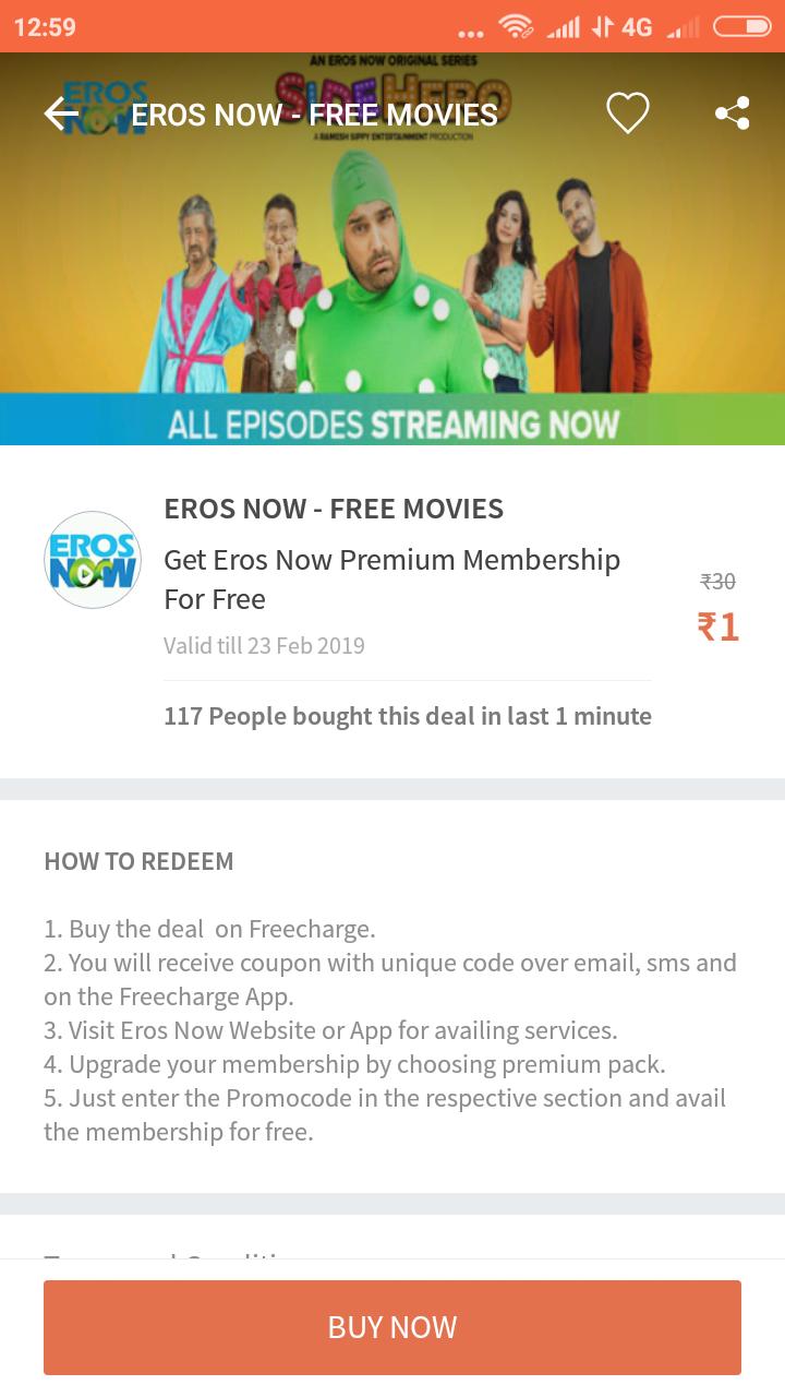 Get EROS NOW premium membership free for one month   DesiDime