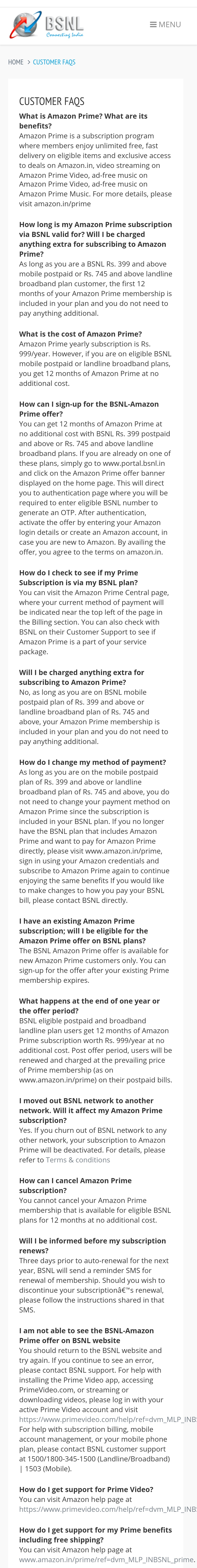 BSNL is providing 1 year of Amazon Prime at no extra cost to