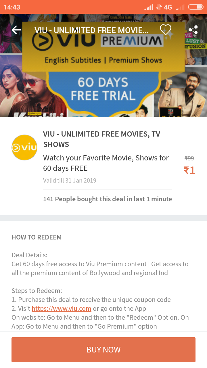 Viu premium unlimited free movies/TV Shows for 2 Months @ 1