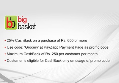 PayZapp - flat 25% Cashback on Big Basket   DesiDime
