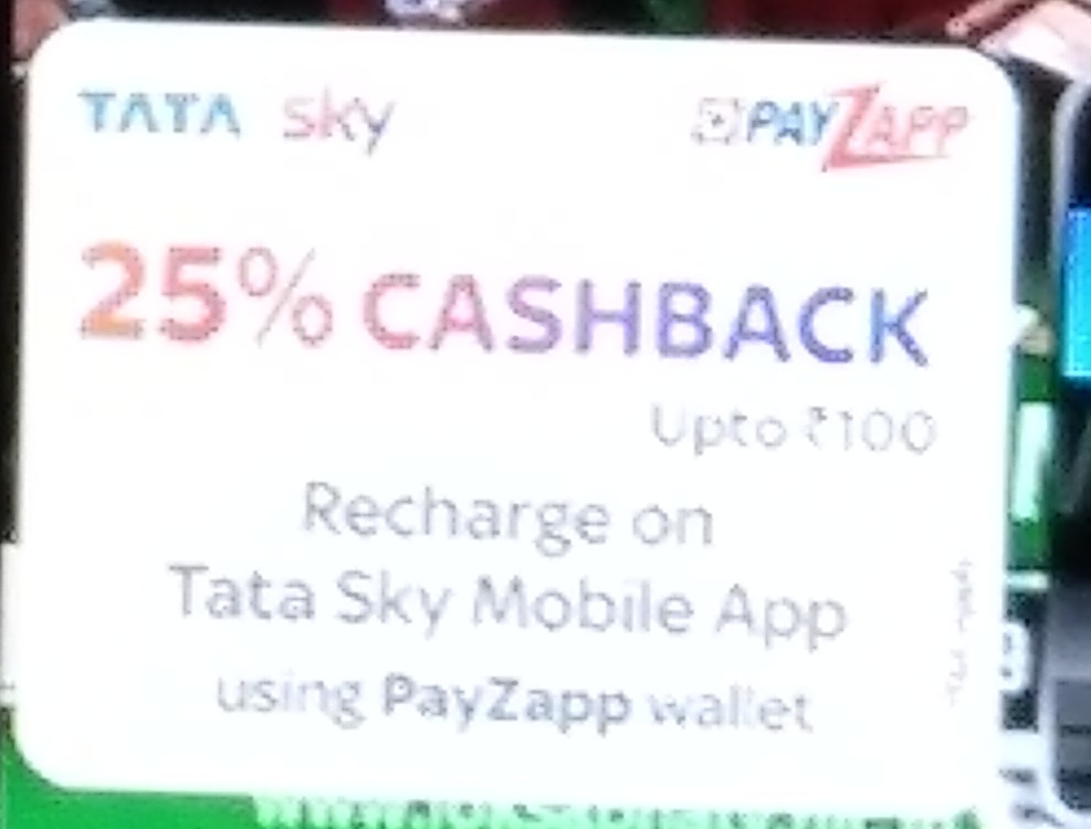 Tatasky DTH Recharge - 25% Cashback upto 100 on Tatasky mobile app