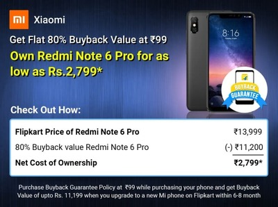 Redmi Note 6 Pro @ ₹2,799 with Flat 80% Buyback Value at