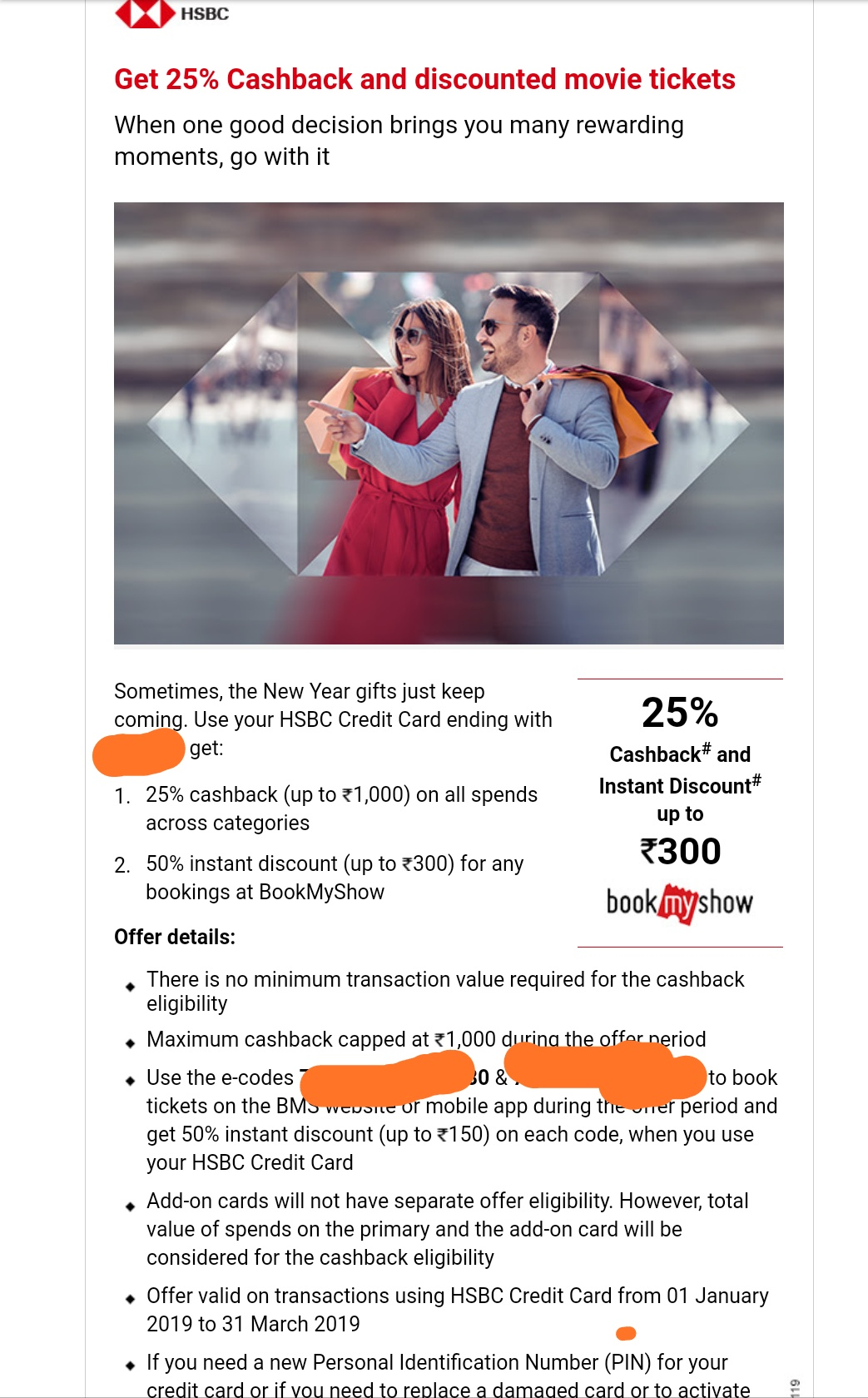 HSBC CC: 25% cashback (up to 1,000) on all spends across categories