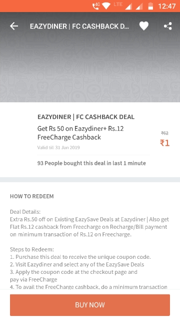 100% CASHBACK:- FLAT 70 CASHBACK ON 70 (RD70) (User Specific