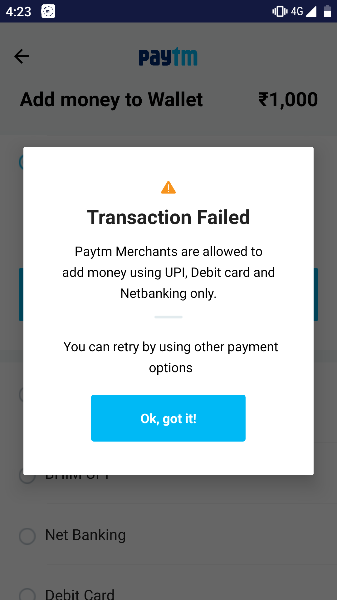 payTM not allowing to add money in payTM wallet through credit card