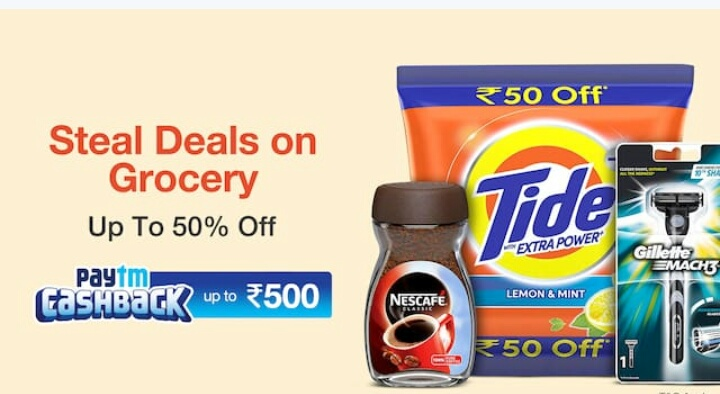 Paytm Mall:- Steal Deals On Grocery Upto 50% Off + Upto 500 Cashback