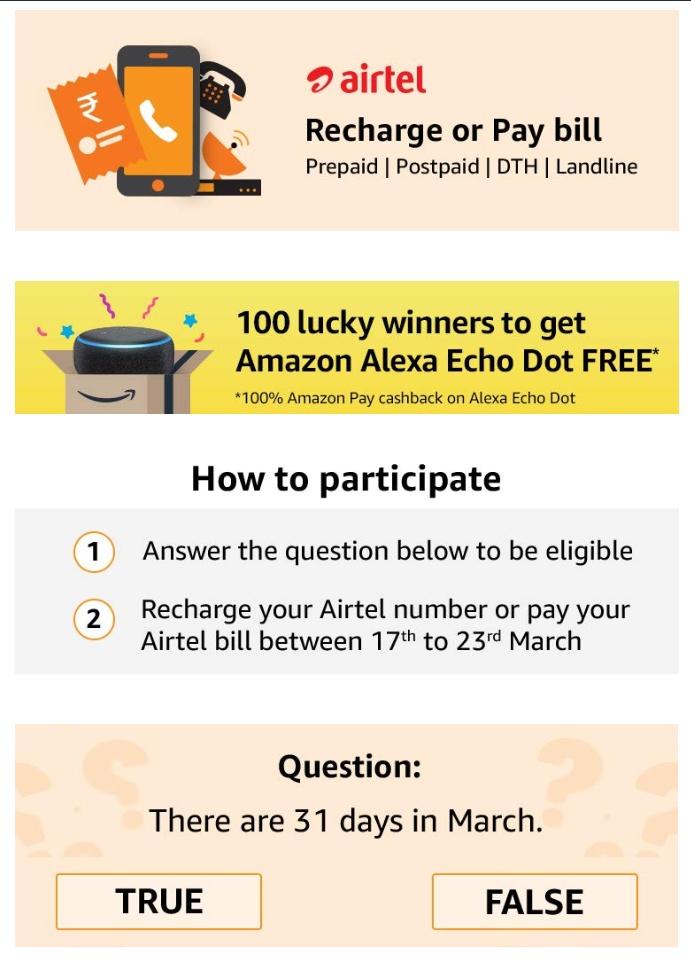 Recharge/Pay Bills and win Alexa Eco Dot FREE (Airtel Users) | DesiDime