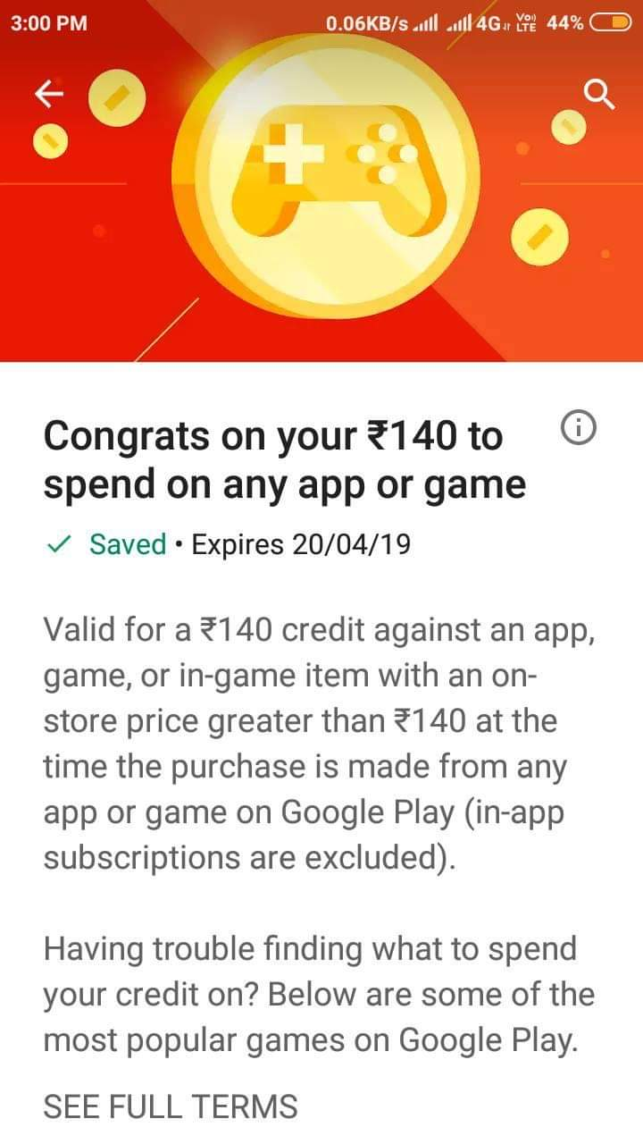 Google Play : Get 140 credits for free | DesiDime