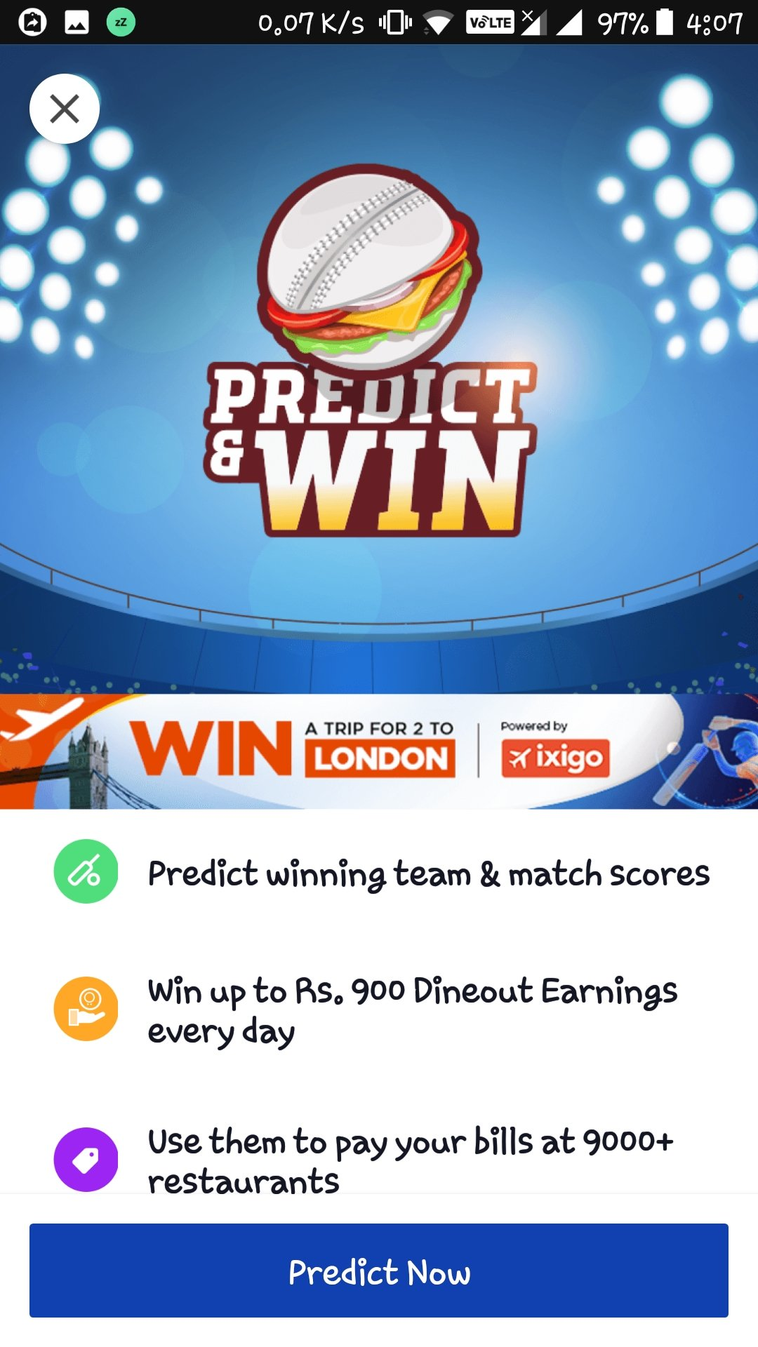 Dineout Predict and Win Rs 900 dineout earnings everyday during IPL