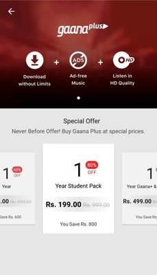 Get Gaana Plus 1 Year Student Pack @ 199₹ | DesiDime