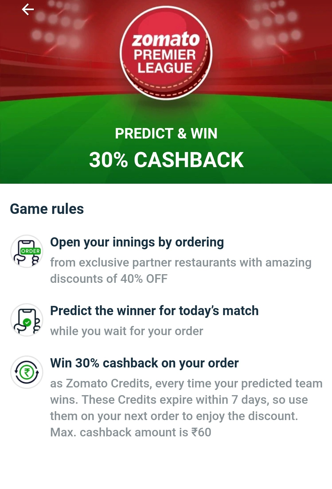 Zomato Premier League - Predict winner and get extra 30% cashback on
