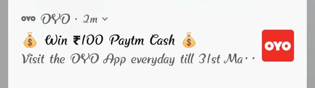 100 Paytm cashback for visiting OYO Rooms daily from 27 to