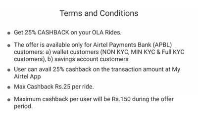 My Airtel App :- Get 25% Cashback upto 150₹ on Ola Cab