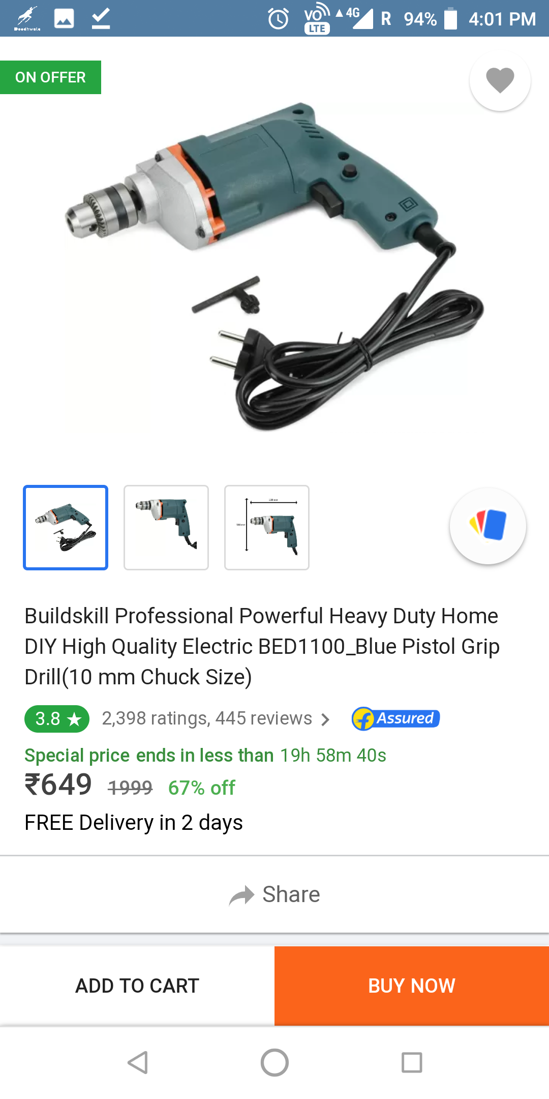 Buildskill 10mm Professional Electric Heavy Duty Drill