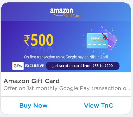 Amazon @500 Gift Card ( @250 Using PayPal) (@465 Using Gpay) ( PayPal For  New User)
