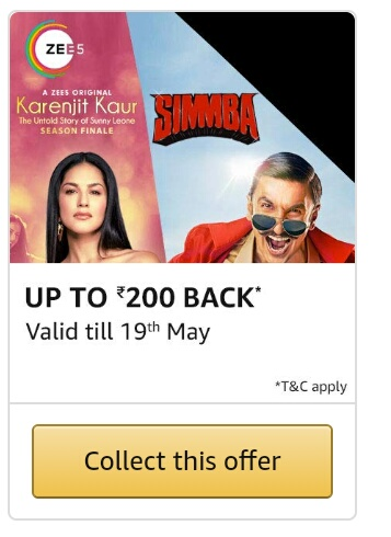 Amazon Pay : Collect ZEE5 Offer & Get Upto 200 Cashback | DesiDime