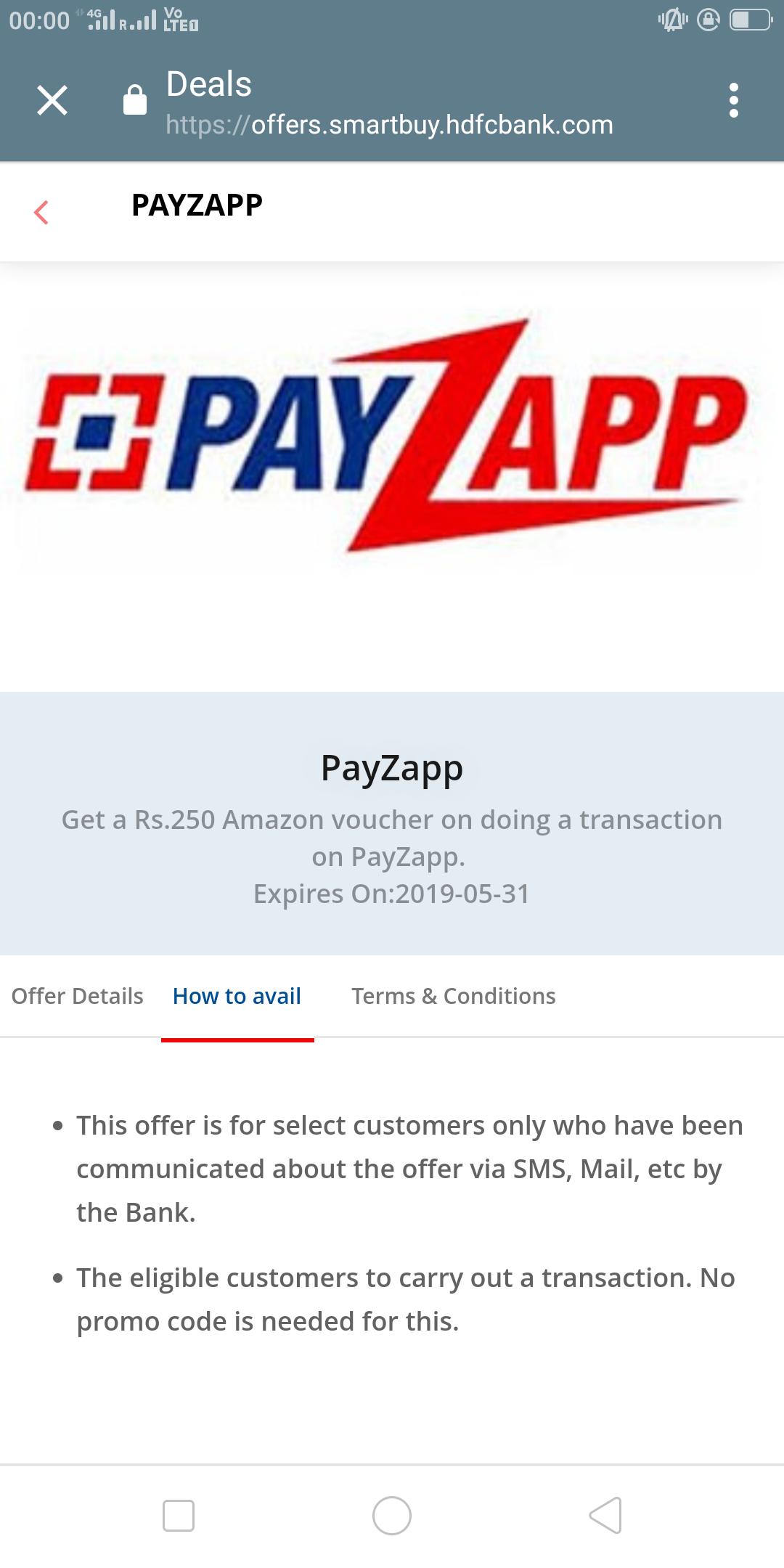 Payzapp :- Do a Transaction of Min 600₹ & Get 250₹ Amazon