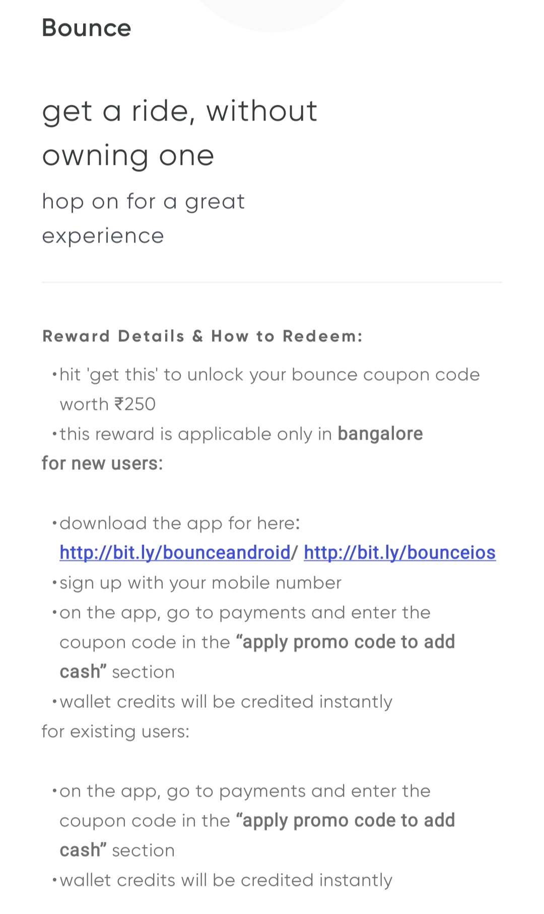 Cred - Burn 5000 coins to get ₹250 off on Bounce bike