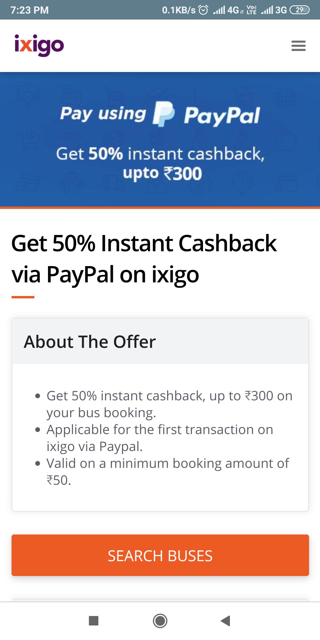 Ixigo :- Flat 50% Cashback upto 300₹ when you pay using