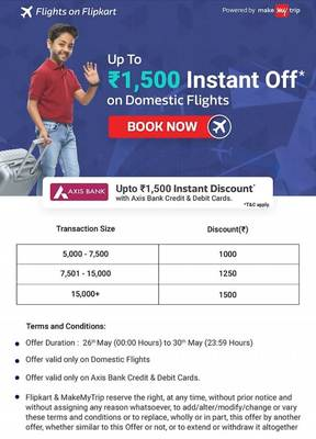 b86df8634 Flipkart Domestic Flights Offer   Flat Rs.1000 Off with Axis Cards (Min  Booking of 5000)