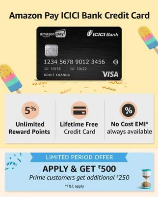 Apply For Amazon Pay Icici Credit Card Get 500 Cashback 750