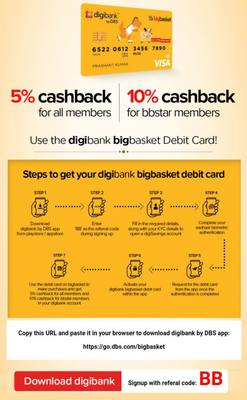 BigBasket :- Get 10% Cashback upto 400₹ when you pay using