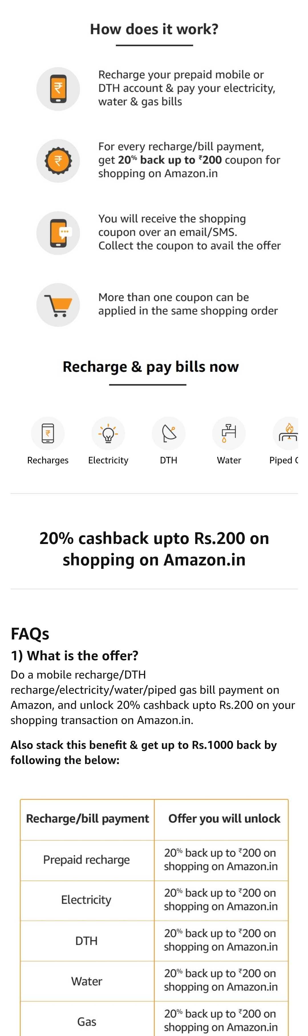 Recharge or Pay bills through Amazon Pay and Get upto 100