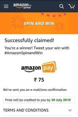 Amazon app Spin and Win - Try your luck to win Rs  50/Rs  75 Cash or