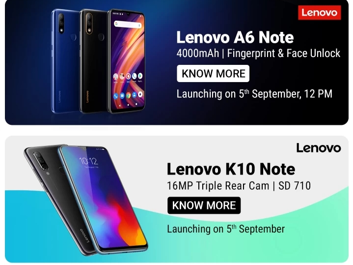 Levovo A6 Note and Lenovo K10 Note Launching on 5th