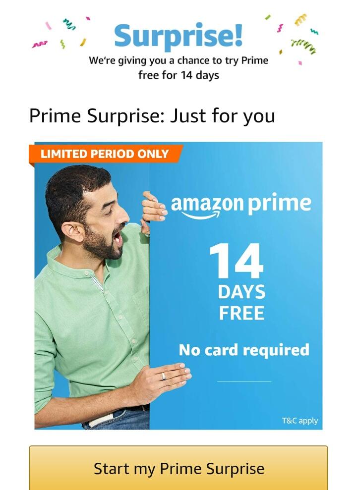 Amazon Prime : Free Prime Membership For 14 Days Surprised