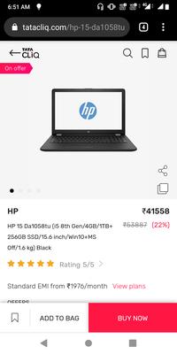 hp-15-da1058tu(i5-8th-gen-4gb RAM-1tb-256gb) at a steal price