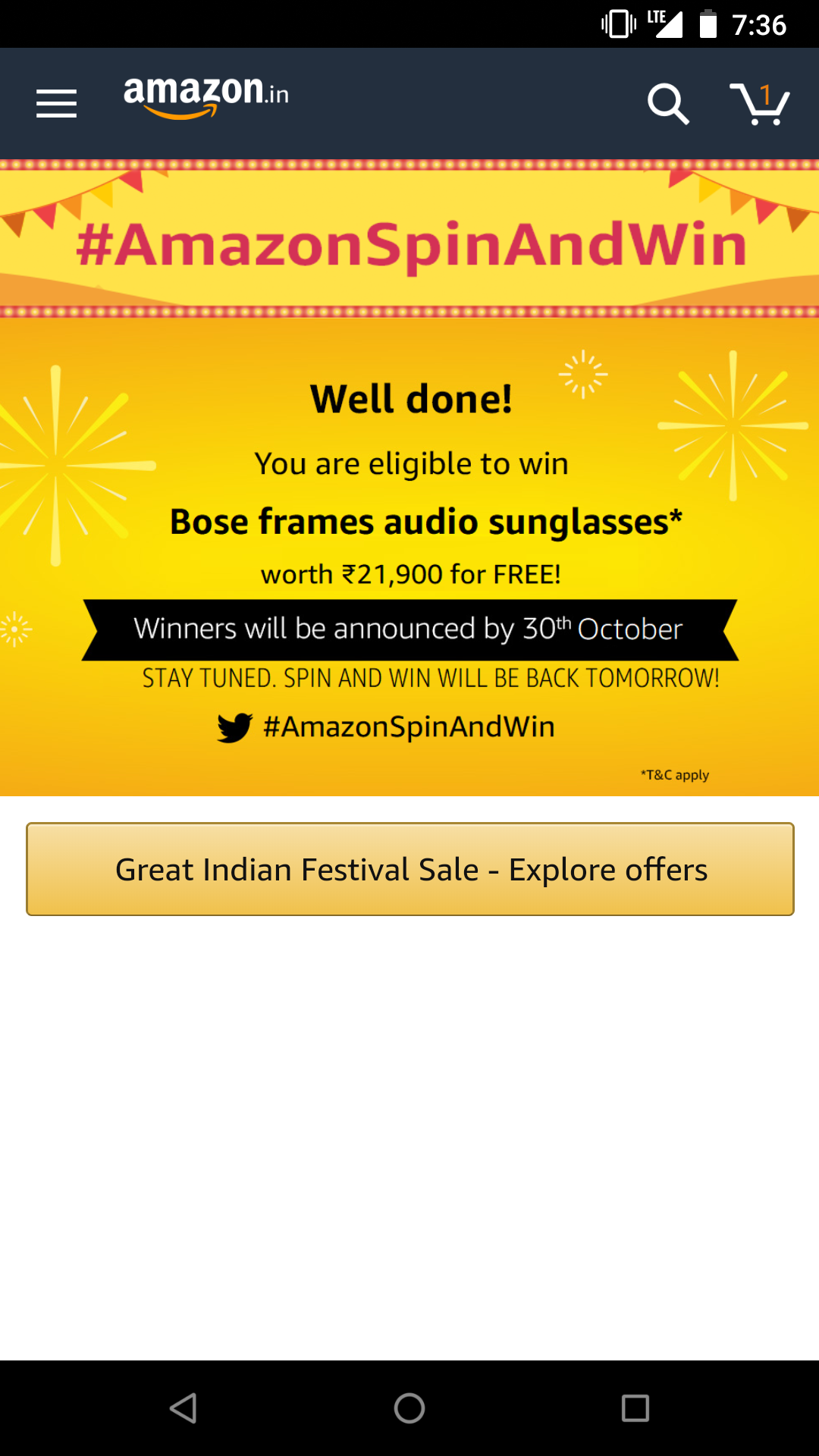 Amazon Great Indian Festival Sale Spin & Win Contest | 23
