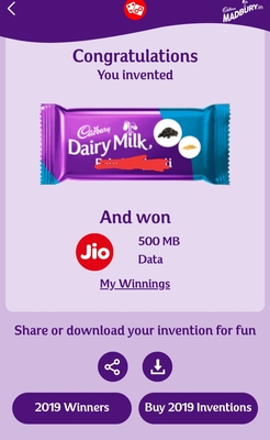 Jio Engage Offer: Invent a New Cadbury Dairy Milk and Win Free 100MB-1GB Data Or One Month Jio Recharge