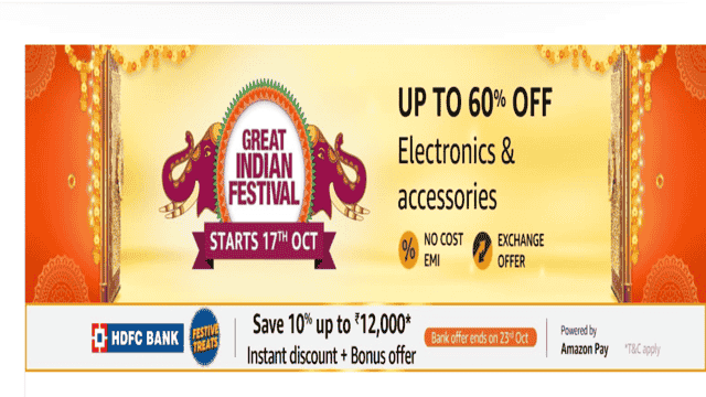 electronics offers in amazon great indian festival sale oct 2020
