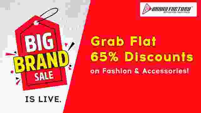 Brand Factory Big Brand Sale is Live. Grab Flat 65% Discounts on all Fashion & Accessories!