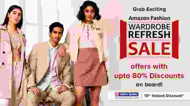 Grab Exciting Amazon Fashion Wardrobe Refresh Sale offers with upto 80% Discounts on board!