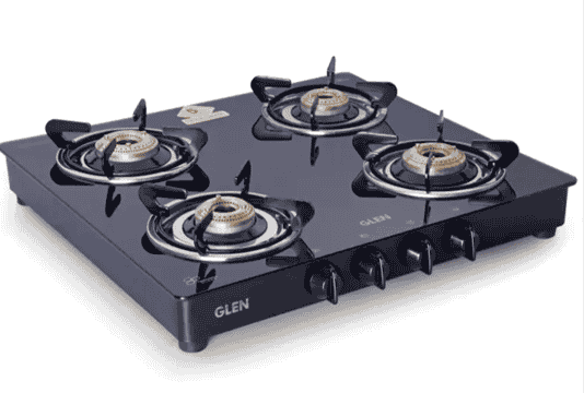 GLEN 1043 GT Brass Burner Black Glass Manual Gas Stove