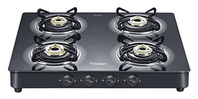 Prestige Royale Plus Schott Glass 4 Burner Gas Stove, Manual Ignition, Black