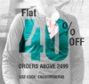 Get flat 40% off on minimum purchase of Rs.2499 on mens apparels