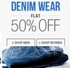 Flat 50% off on Denim wear for men & women