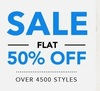 Get Flat 50% off on selected styles for men & women.